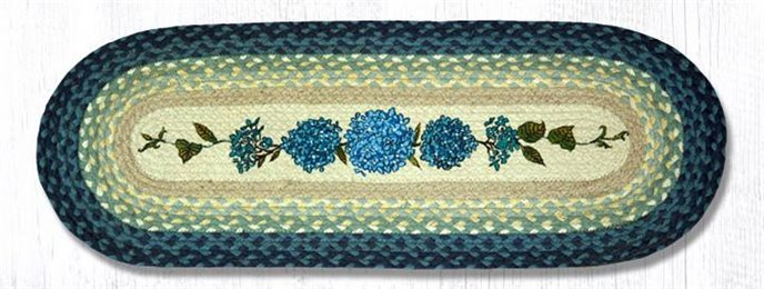 "Blue Hydrangea Oval Braided Table Runner 13""x36"" Thumbnail"