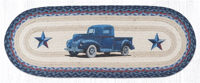 "Blue Truck Oval Braided Table Runner 13""x36"" Thumbnail"