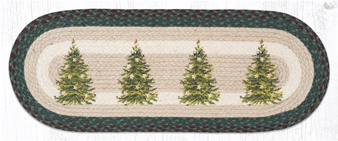 "Christmas Tree Oval Braided Table Runner 13""x36"" Thumbnail"
