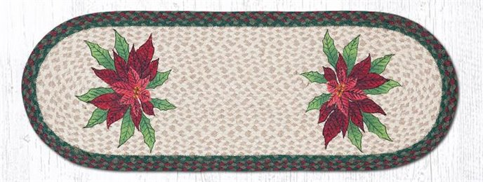 "Poinsettias Oval Braided Table Runner 13""x36"" Thumbnail"