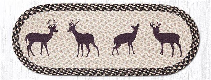 "Deer Silhouette Oval Braided Table Runner 13""x36"" Thumbnail"