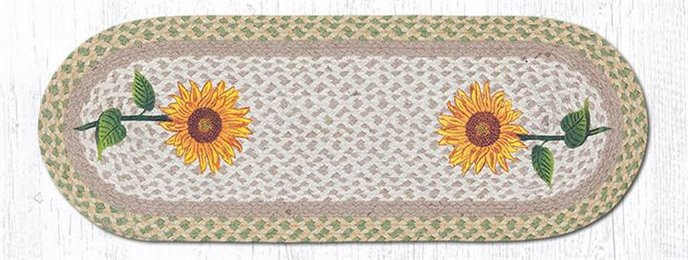 "Tall Sunflowers Oval Braided Table Runner 13""x36"" Thumbnail"