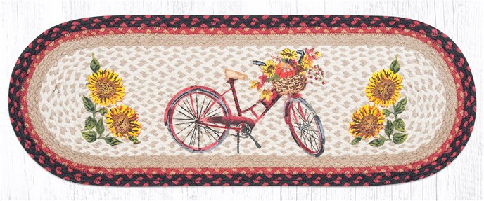 """Red Bicycle Oval Braided Table Runner 13""""x36"""" Thumbnail"""