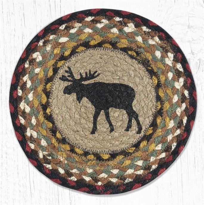 "Black Moose Printed Round Braided Trivet 10""x10"" Thumbnail"