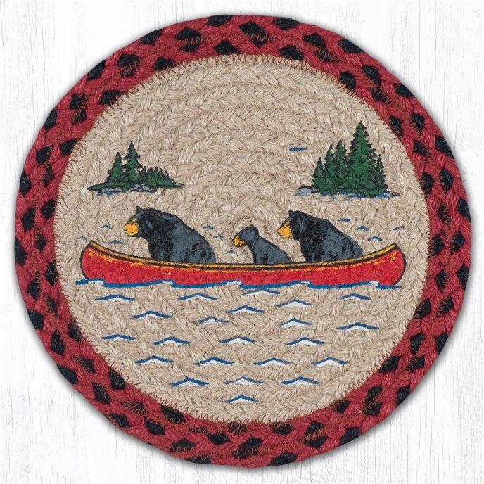 "Bears in Canoe Printed Round Braided Trivet 10""x10"" Thumbnail"