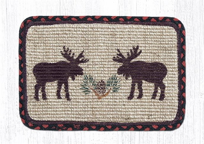 "Moose/Pinecone Wicker Weave Braided Table Runner 13""x36"" Thumbnail"