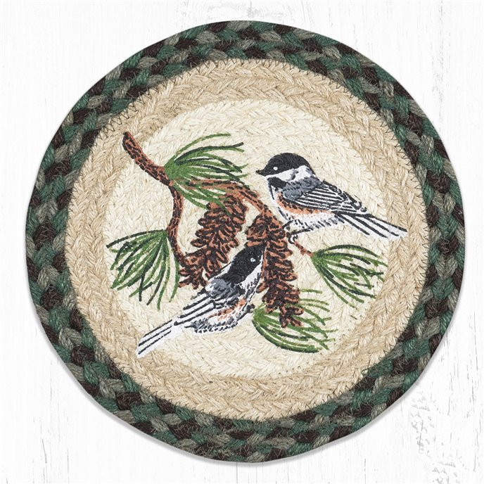 "Chickadee Pinecone Printed Round Braided Trivet 10""x10"" Thumbnail"
