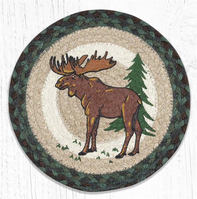 "Highland Moose Printed Round Braided Trivet 10""x10"" Thumbnail"