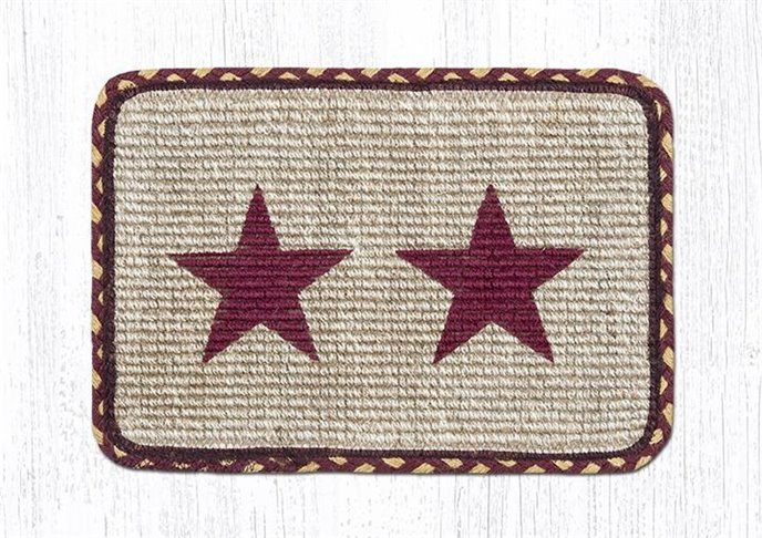 """Burgundy Star Wicker Weave Braided Table Runner 13""""x36"""" Thumbnail"""