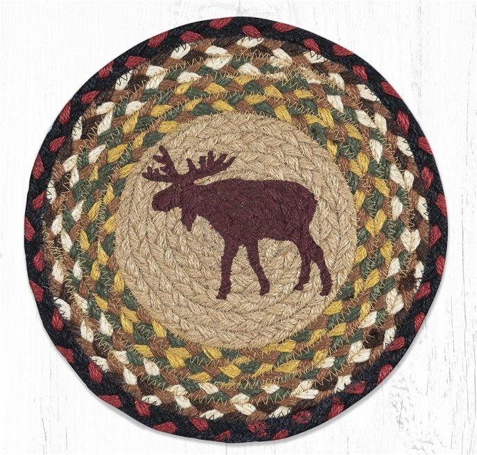 "Moose Printed Round Braided Trivet 10""x10"" Thumbnail"