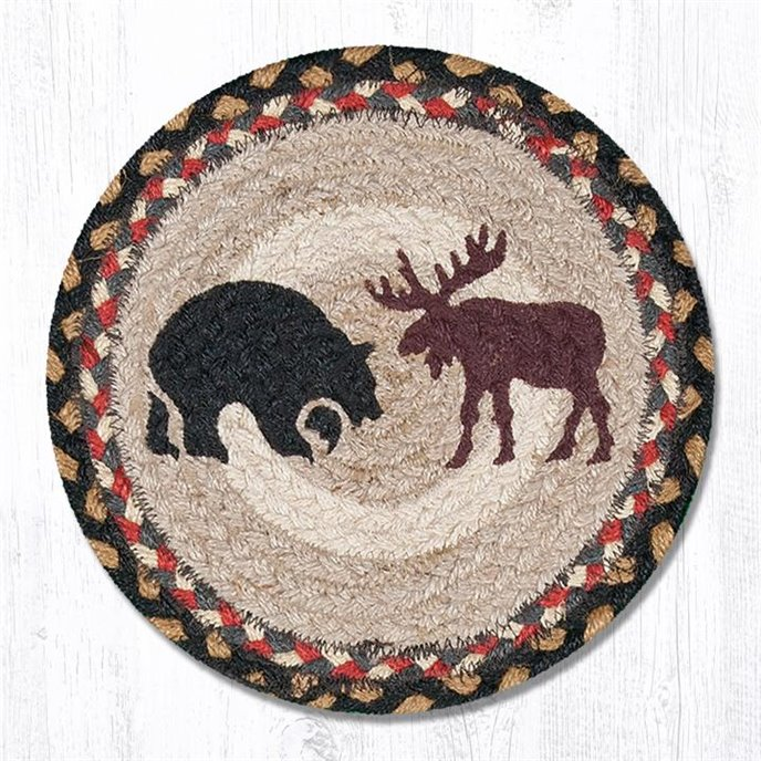 "Bear/Moose Printed Round Braided Trivet 10""x10"" Thumbnail"