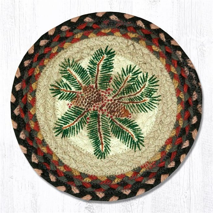 """Pinecone Red Berry Printed Round Braided Trivet 10""""x10"""" Thumbnail"""