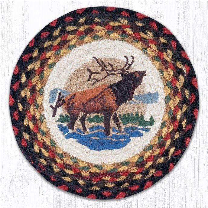 "Winter Elk Printed Round Braided Trivet 10""x10"" Thumbnail"