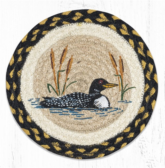 """Loon Cattail Printed Round Braided Trivet 10""""x10"""" Thumbnail"""