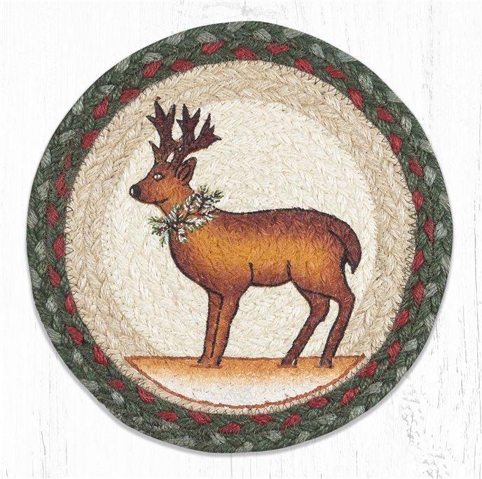 "Reindeer Printed Round Braided Trivet 10""x10"" Thumbnail"
