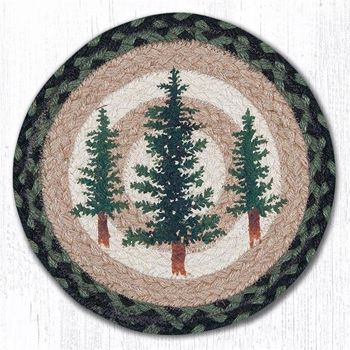 "Tall Timbers Printed Round Braided Trivet 10""x10"" Thumbnail"