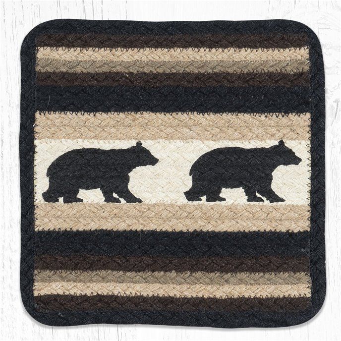 "Cabin Bear Square Printed Braided Trivet 10""x10"" Thumbnail"