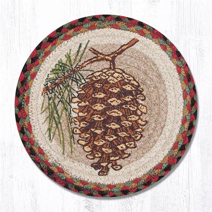 "Pinecone Printed Round Braided Trivet 10""x10"" Thumbnail"