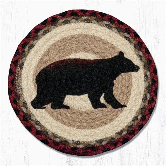 "Cabin Bear Printed Round Braided Trivet 10""x10"" Thumbnail"