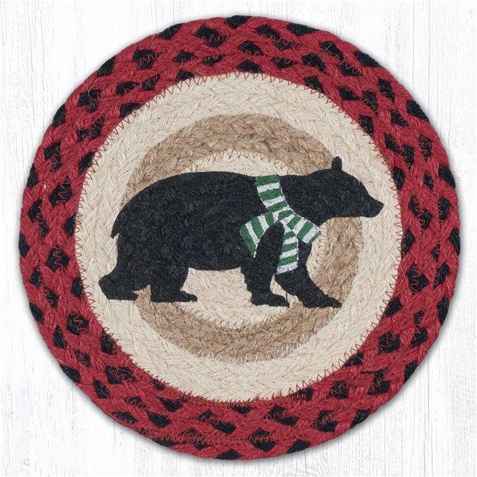 "Bear Green Stripe Scarf Printed Round Braided Trivet 10""x10"" Thumbnail"