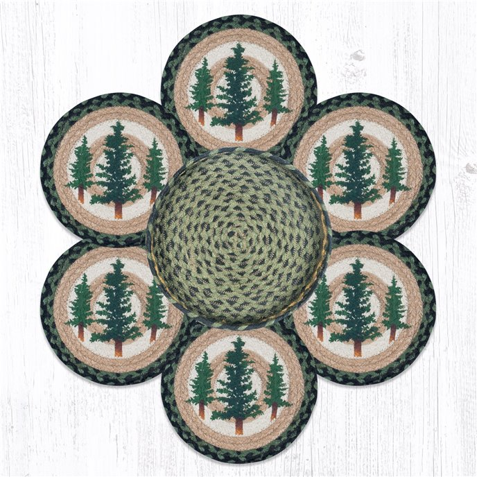 """Tall Timbers Braided Trivets in a Basket 10""""x10"""", Set of 6 Thumbnail"""