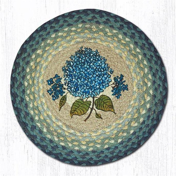 """Blue Hydrangea Round Braided Chair Pad 15.5""""x15.5"""" Thumbnail"""