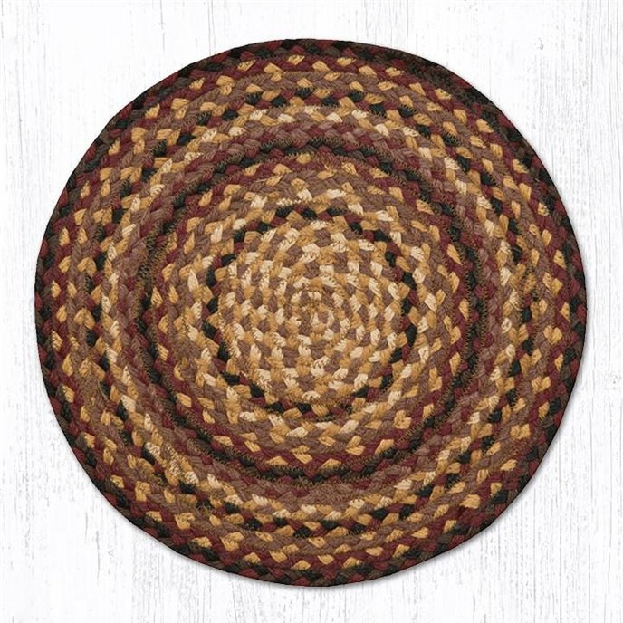 "Black Cherry/Chocolate/Cream Jute Braided Chair Pad 15.5""x15.5"" Thumbnail"