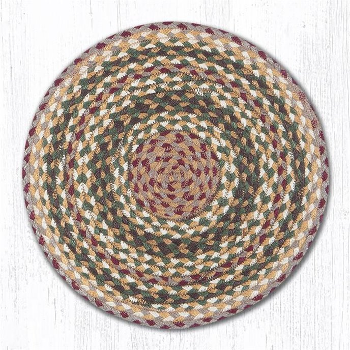 "Olive/Burgundy/Gray Jute Braided Chair Pad 15.5""x15.5"" Thumbnail"