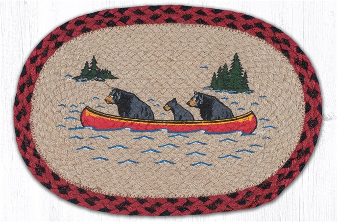 """Bears in Canoe Printed Oval Braided Swatch 10""""x15"""" Thumbnail"""