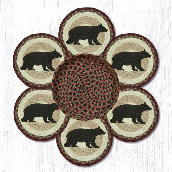 """Cabin Bear Braided Trivets in a Basket 10""""x10"""", Set of 6 Thumbnail"""