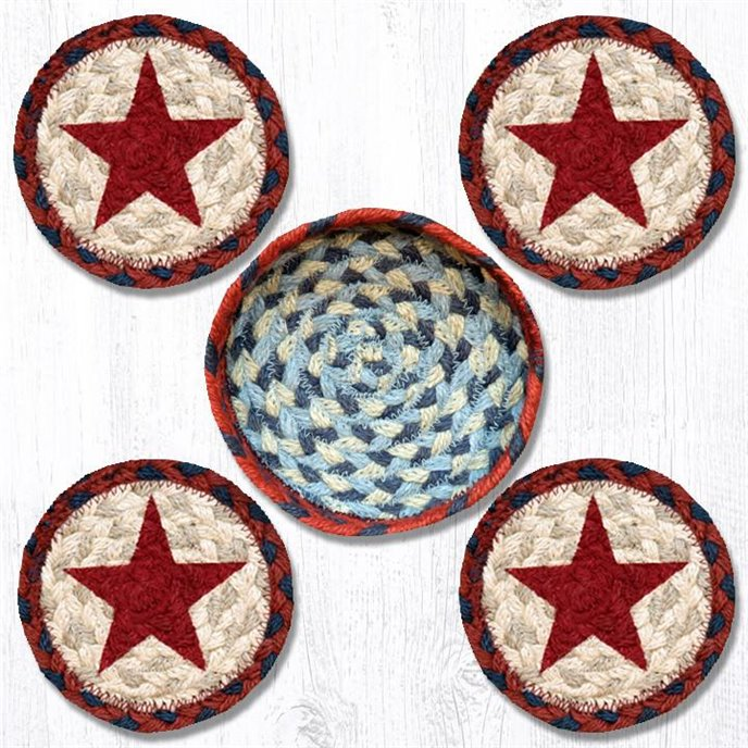 """Red Star Braided Coasters in a Basket 5""""x5"""" Set of 4 Thumbnail"""
