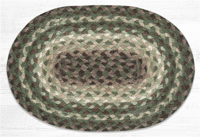 """Taupe/Dark Brown/Cactus Oval Braided Swatch 10""""x15"""" Thumbnail"""
