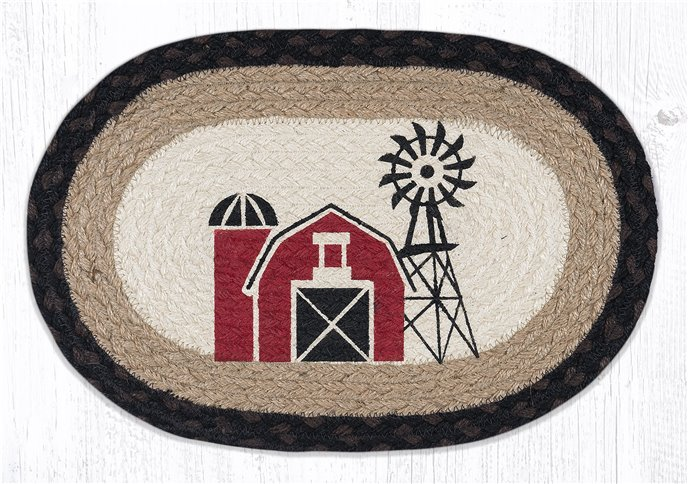 """Windmill Printed Oval Braided Swatch 10""""x15"""" Thumbnail"""