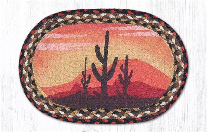 """Desert Sunset Printed Oval Braided Swatch 10""""x15"""" Thumbnail"""