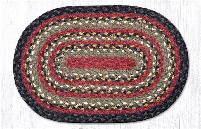 """Burgundy/Olive/Charcoal Oval Braided Swatch 10""""x15"""" Thumbnail"""