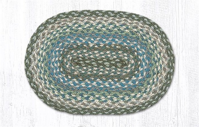 """Sage/Ivory/Settlers Blue Oval Braided Swatch 10""""x15"""" Thumbnail"""