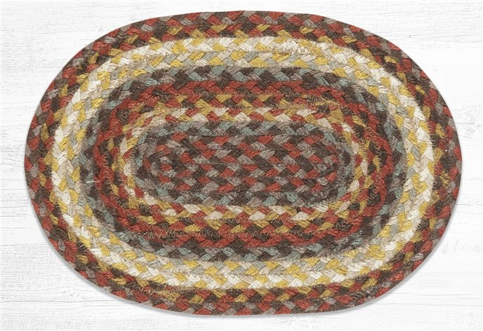 """Taupe/Golden Rod/Terracotta Oval Braided Swatch 10""""x15"""" Thumbnail"""