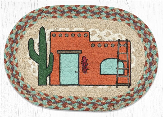 """Adobe Home Printed Oval Braided Swatch 10""""x15"""" Thumbnail"""