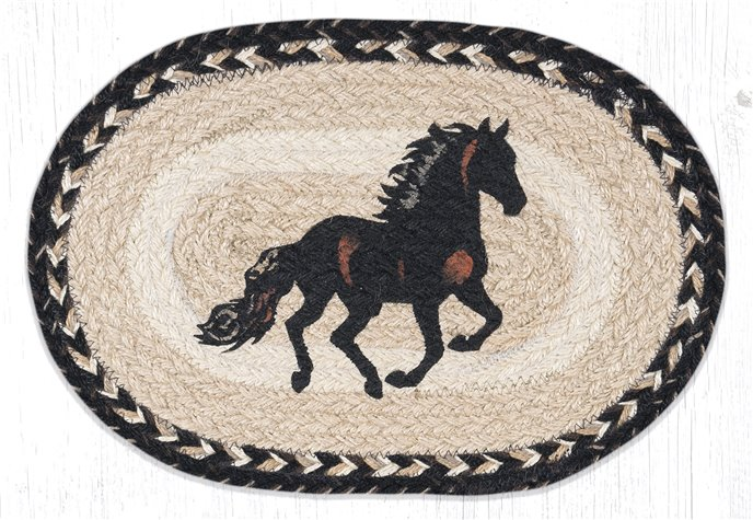 """Stallion Printed Oval Braided Swatch 10""""x15"""" Thumbnail"""