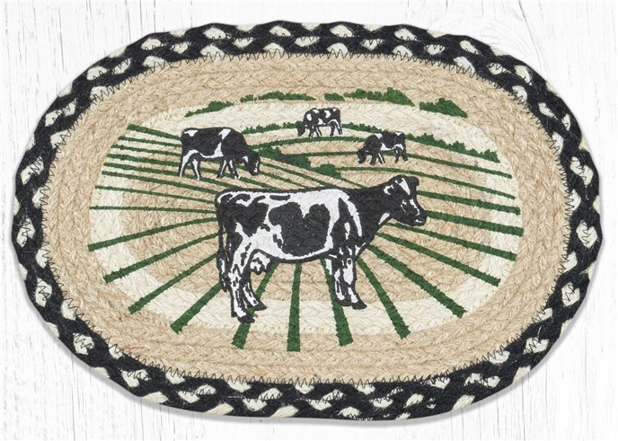 "Cows Printed Oval Braided Swatch 10""x15"" Thumbnail"
