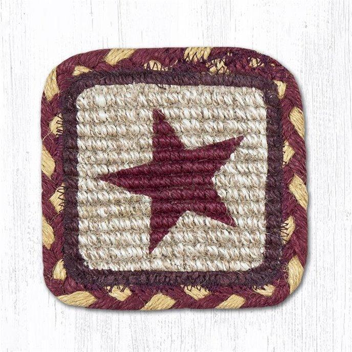 "Burgundy Star Wicker Weave Braided Swatch 10""x15"" Thumbnail"