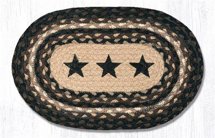 "Black Stars Printed Oval Braided Swatch 10""x15"" Thumbnail"