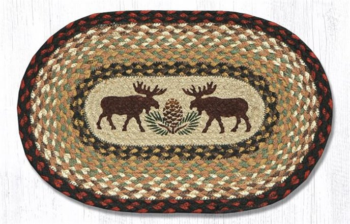 "Moose/Pinecone Printed Oval Braided Swatch 10""x15"" Thumbnail"