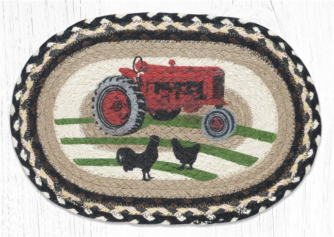 """Red Tractor Printed Oval Braided Swatch 10""""x15"""" Thumbnail"""