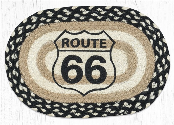 "Route 66 Printed Oval Braided Swatch 10""x15"" Thumbnail"