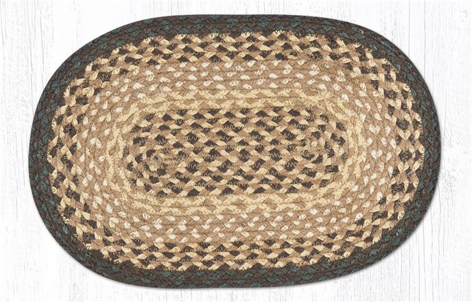 """Chocolate/Natural Oval Braided Swatch 10""""x15"""" Thumbnail"""