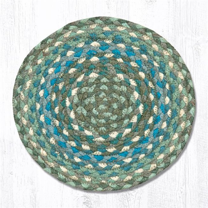 """Sage/Ivory/Settlers Blue Round Braided Swatch 10""""x10"""" Thumbnail"""