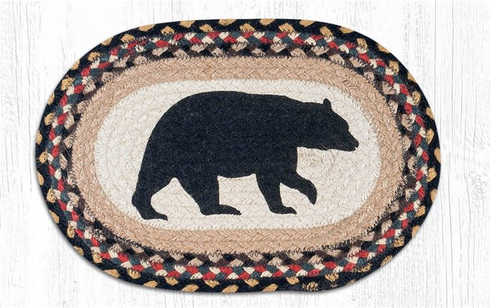 """American Bear Printed Oval Braided Swatch 10""""x15"""" Thumbnail"""