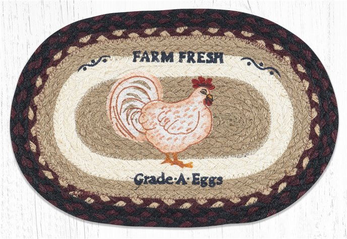 """Farmhouse Chicken Printed Oval Braided Swatch 10""""x15"""" Thumbnail"""
