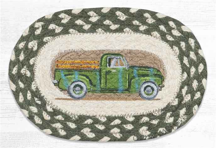 "Vintage Green Truck Printed Oval Braided Swatch 7.5""x11"" Thumbnail"